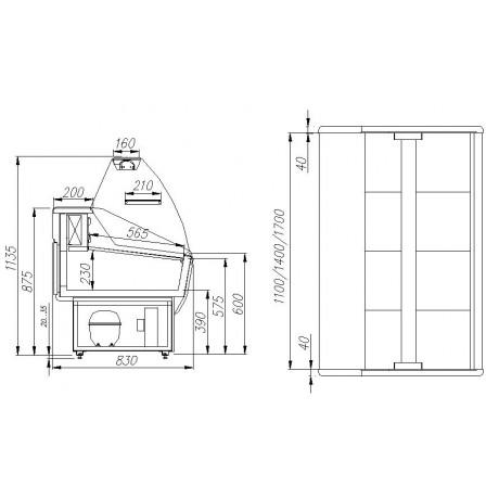 Холодильная витрина ВХСр-1,2 Полюс Эко