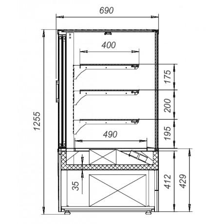 Кондитерская витрина VS-0,95 Veneto Cube (стеклопакеты)