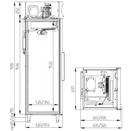 Шафа холодильна POLAIR  CM107-S